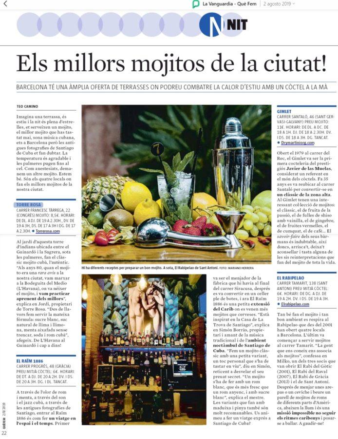 Artículo de La Vanguardia sobre los mejores mojitos de Barcelona