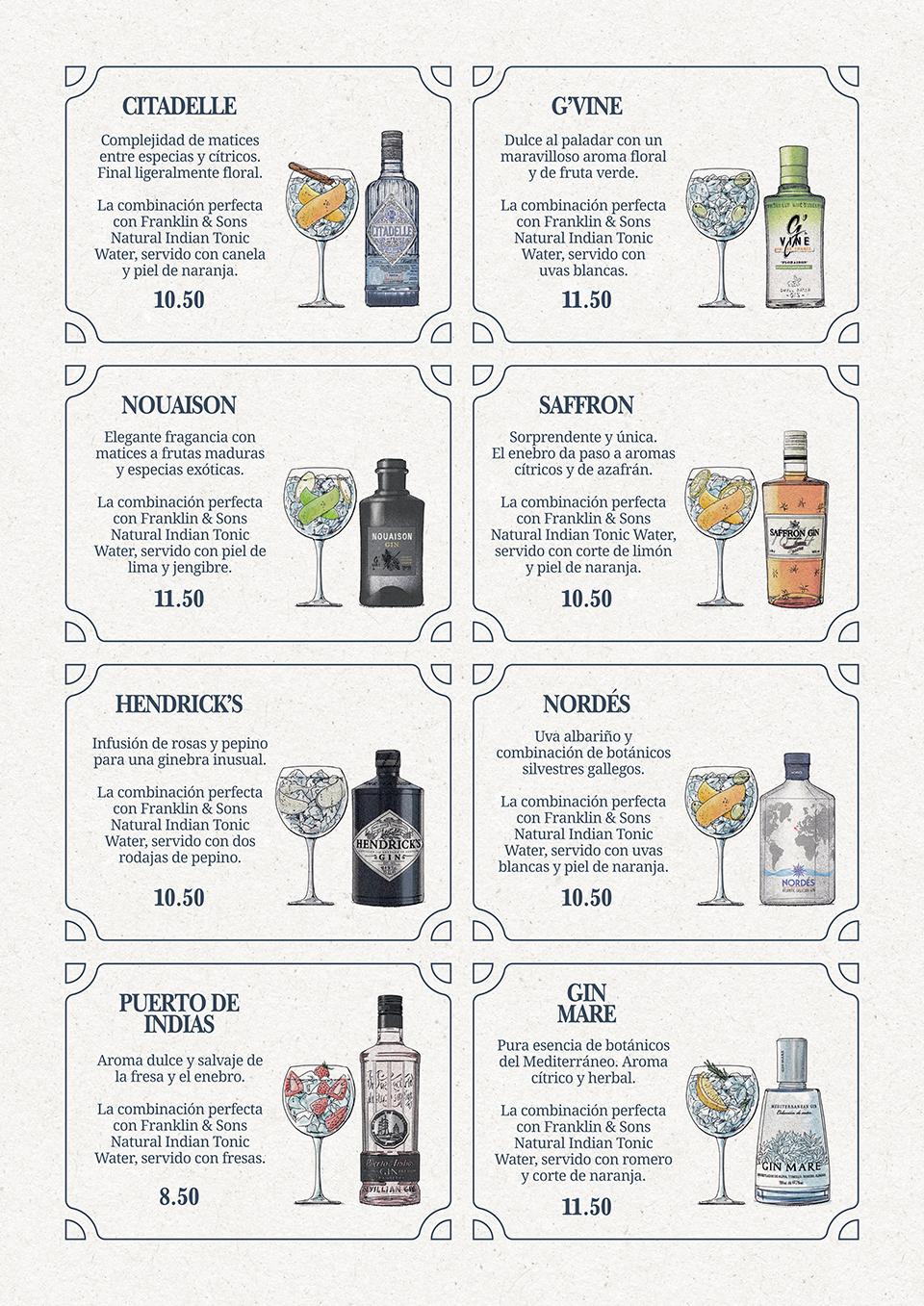 Carta de Gin Tonics
